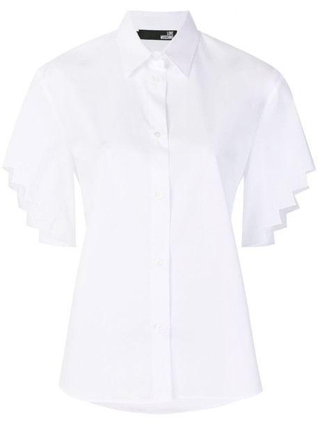 LOVE MOSCHINO shirt women spandex white cotton top