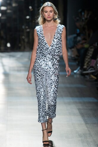 jumpsuit cushnie et ochs silver sequins pants top plunge v neck runway ny fashion week 2017 fashion week 2017