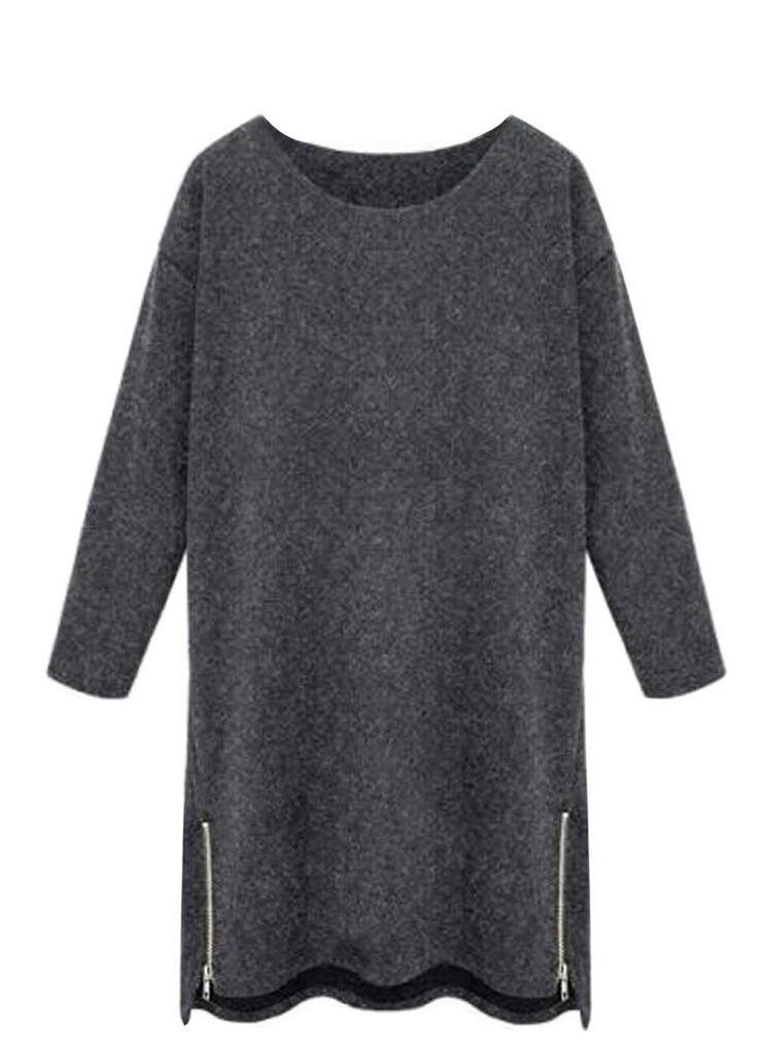 Women Plus Size Long Sleeve Solid Side Zip Cosy Cashmere Sweater Dress at Amazon Women's Clothing store: