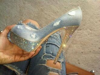 shoes high heels heels ripped denim diamonds denim shoes jeans fashion swarovski ripped jeans diamants blue gold sexy pumps denim heels