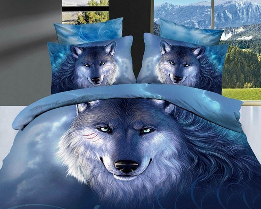 Mbm(tm) unique 3d oil painting bedding sets, wolf print bedding set, queen size, 4pcs, comforter not contained