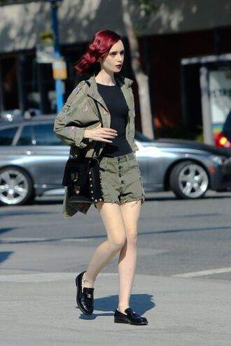 shorts top military style jacket olive green flats shoes lily collins purse mini shorts