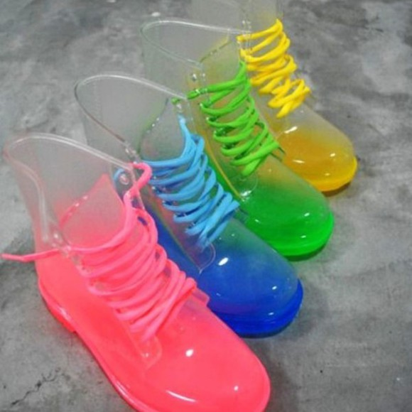 pink blue yellow boots transparent shoes combat boots clear boots jelly boots jellyshoes green