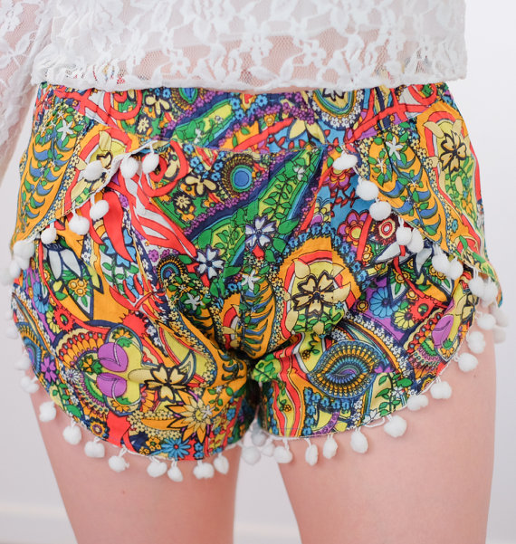 Jungle Rumble Multicolor Floral Pom Pom Tassel Shorts