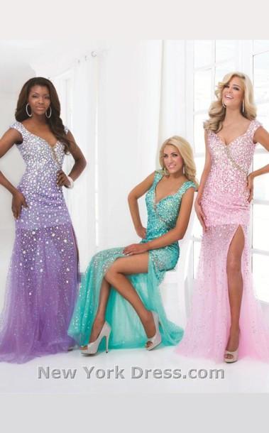 Dress Sequin Prom Dress Gems Cute Glitter Dress Blue Prom Dress