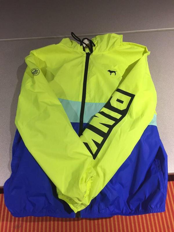 jacket victoria secret jacket victoria's secret windbreaker pink neon dark blue lime light blue blue pink by victorias secret