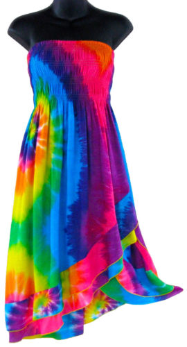Rainbow Tie Dye Multiple Wear Dress or Long Skirt New Sizes s M L XL 1XL | eBay