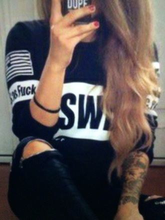 blouse black girly swag top swagg t shirt swag style awesome hat