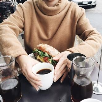 sweater beige oversize sweater shirt turtleneck oversized sweater top casual beige neutrals classic daywear