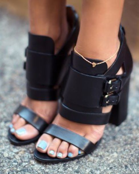 Shoes: black, fashion, women, strappy heels, chunky heels, buckles ...