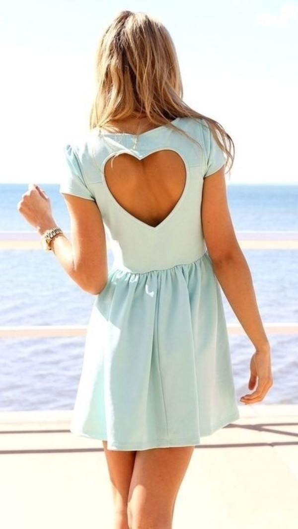 dress heart cut out blue baby blue sleeve