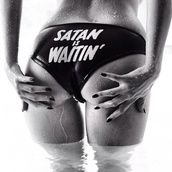 swimwear,satan,black,white,pants,underwear,quote on it,waitin',bikini bottoms,bikini,black bikini,lingerie,stamp