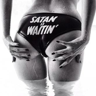 swimwear satan black white