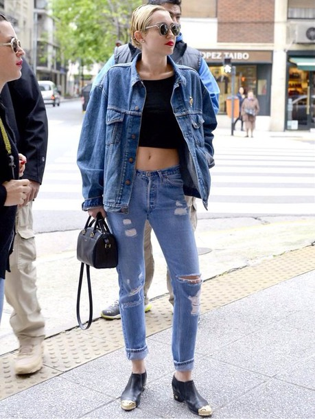 Bag: miley cyrus top, black top, black crop top, denim, denim ...