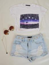 t-shirt,moon phases,vintage,sunglasses,shorts,moon,white,landscape,beautiful,picture,bag,shirt,High waisted shorts,short,jewels,tumblr,clothes,blogger,tumblr shirt,crop too,crop tops,top,blouse,white shirt,moon shirt,tank top,cropped,ripped,girl,grunge,necklace,purple