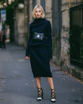 skirt,midi skirt,wool,sweater,turtleneck,black bag,pumps,high heels