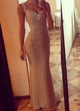 dress fishtail dress nude dress