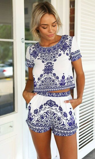 jumpsuit dealsforyou set top shorts shirt boho blue white summer bohemian hipster vintage cute tumblr tumblr outfit love girl summer dress dress party 2piece dress party outfits