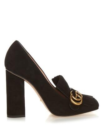 heel pumps suede black shoes