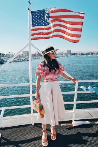 hallie daily blogger bag shoes sunglasses red top checkered white skirt white sunglasses wedges midi skirt basket bag sun hat sandals