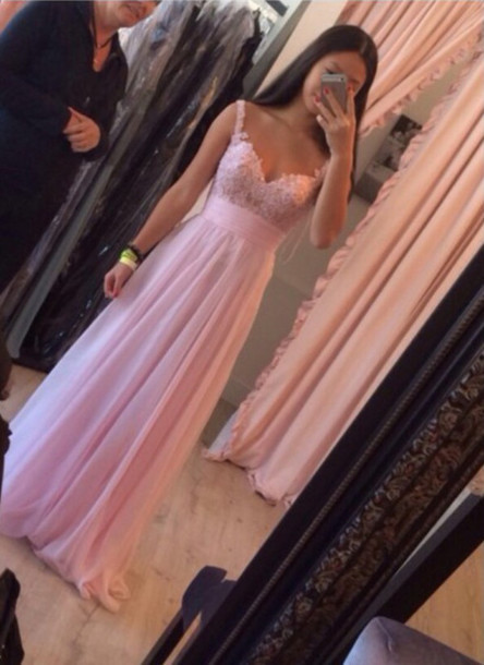 Custom made pink a line long prom dresses 2015, dresses for prom