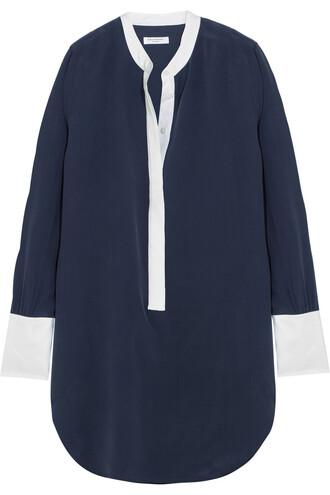 shirt silk navy top