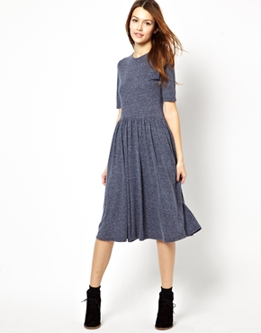 ASOS | ASOS Midi Dress In Nepi With 3/4 Sleeves at ASOS