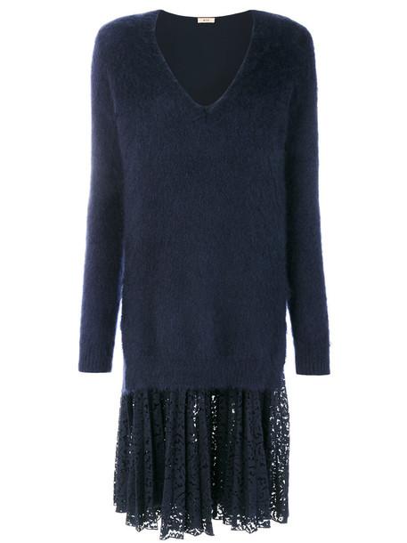 No21 - V-neck jumper dress with lace slip - women - Silk/Cotton/Polyamide/Wool - 42, Blue, Silk/Cotton/Polyamide/Wool
