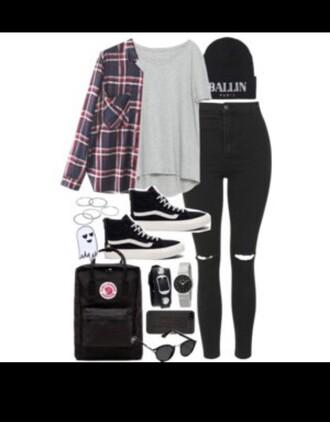 jeans grunge plaid flannel black red white hat beanie punk rock black skinny jeans