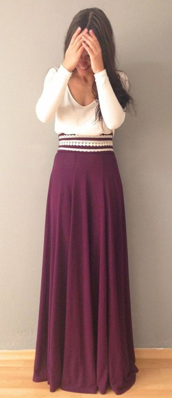skirt maxi skirt purple skirt