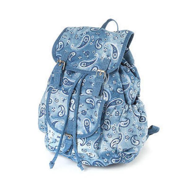 bag bandana packbag blue denim urban backpack