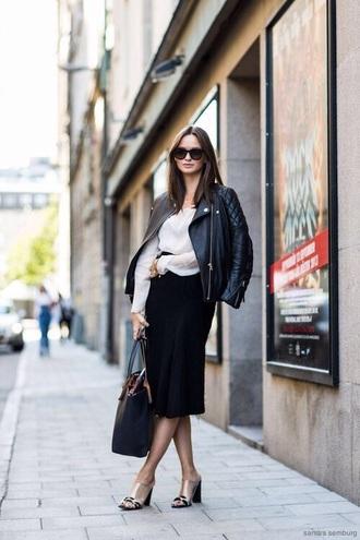 shoes mules skirt midi skirt black skirt shirt white shirt jacket black jacket heels