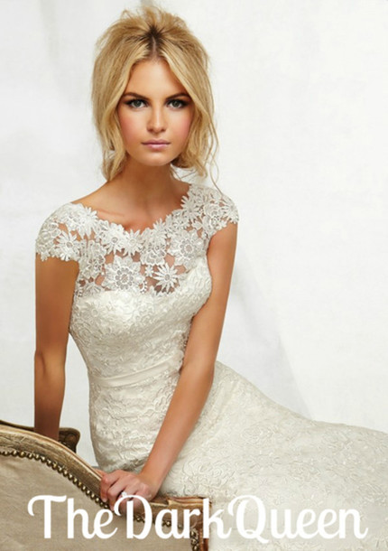 Dress White Lace Gown Wedding Formal Prom Elegant Chic