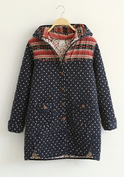 buttons coat padded coat flower print polka dots blue coat different patterns cichic coat with pockets multi colored