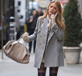 coat beanie gold buttons bag blake lively gossip girl serena van der woodsen style outfit fashion jacket