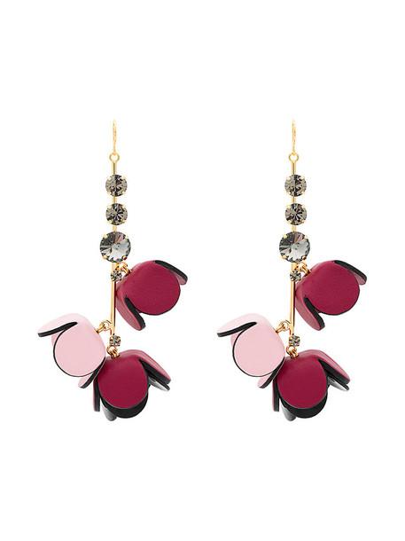 MARNI metal women earrings pendant leather purple pink jewels