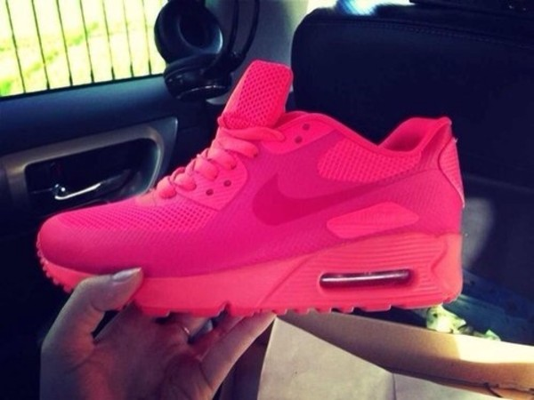 shoes nike air max 1 nike air max 90 hyperfuse full pink pink nike neon pink hot pink air max nike running shoes nike sneakers nike air max 90