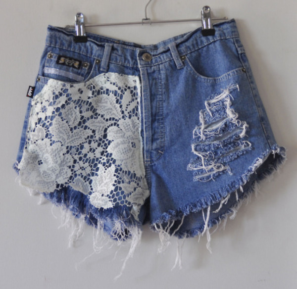 shorts white denim lace ripped ripped shorts cut off shorts high waisted denim shorts blue vans jeans High waisted shorts lace shorts denim shorts