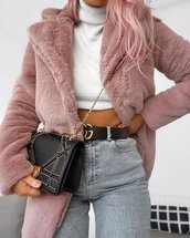 bag,girl,girls outfit,outfit,jeans,cardigan,rose,pink,chanel,chanel belt,mom jeans,pink hair