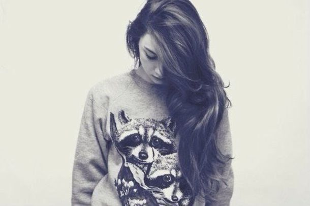 sweater raccoon jumper random girl