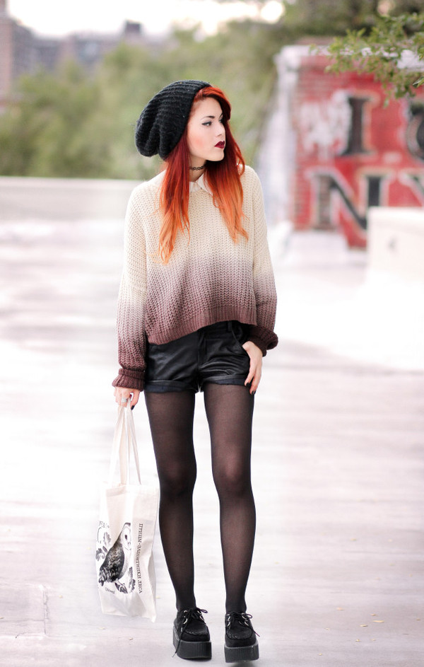 le happy blogger bag ombre leather shorts creepers beanie tights le happy sweater