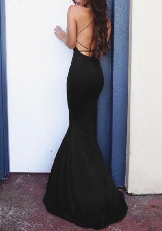 Black Illusion-Neck Gown