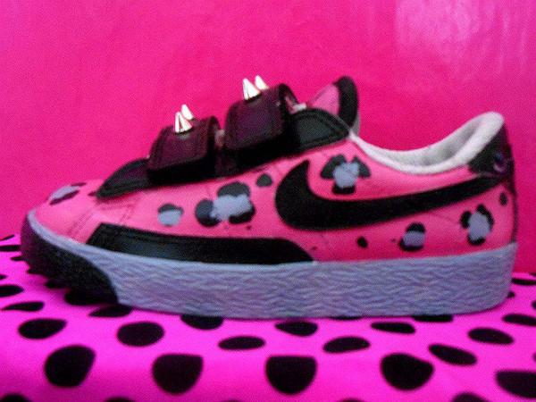 shoes nike blazer nike blazers leopard print hot pink black grey spike