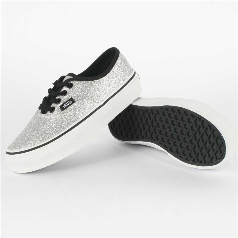 Youth k authentic shoes in glitter silver/true white