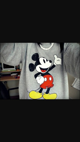 sweater mickey mouse greyhoodie grey sweater