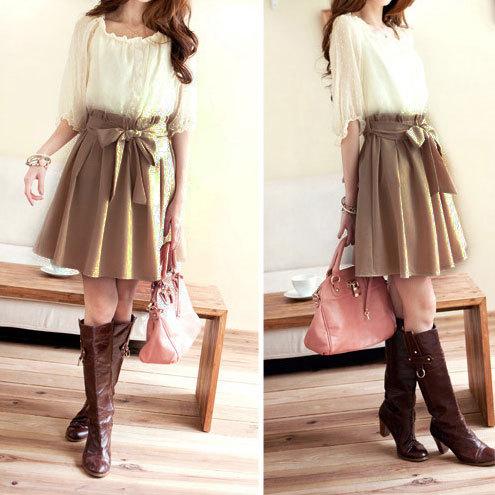 shopbazar shopping mall — [grzxy6601109]Half Sleeve Crewneck Top Belted Chiffon Skirt Dress