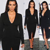 slit dress,black dress,long sleeve dress,kim kardashian dress,v neck dress,long sleeves,midi,midi dress,party dress,sexy dress,red carpet,celebrity,fall outfits,cocktail dress,red carpet dress,new year's eve,celebrity style,all black everything,kim kardashian,kardashians