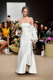 dress,sydney fashion week,runway,white,strapless,model,fashion week,C/meo Collective