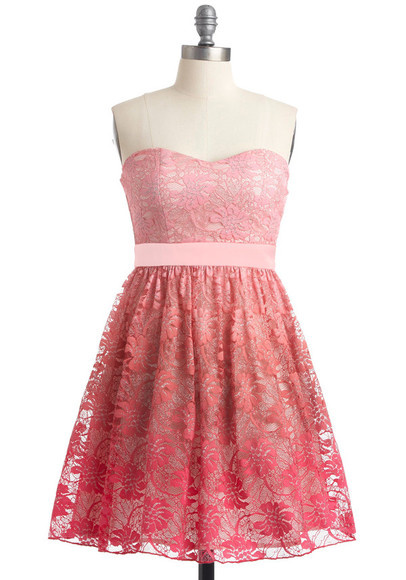 dress strapless pink cute lace