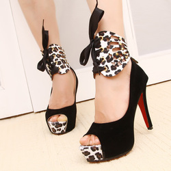 Online Shop Lowest price in Aliexpress 2013 Nibbuns new high heel woman sexy pumps,detachable leopard noble peep-toe shoes,summer sandals|Aliexpress Mobile
